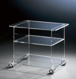 Hochwertiger Acryl-Glas TV-Wagen / TV-Tisch mit 4 Chromrollen, klar, 60 x 45 ...