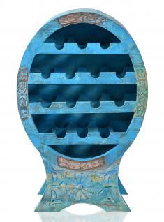 """Weinregal, """" Washed Look"""", Altholz, blau, B60 x T31 x H95 cm"""