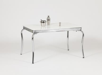 """Bistrotisch """" Charleston"""", Tischplatte polarweiß, Retro / 50er-Jahre, Gestell ..."""