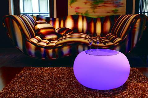 Moree Bubble, Pro Akku, LED beleuchteter Tisch mit Sicherheitsglasplatte, Ø 6...