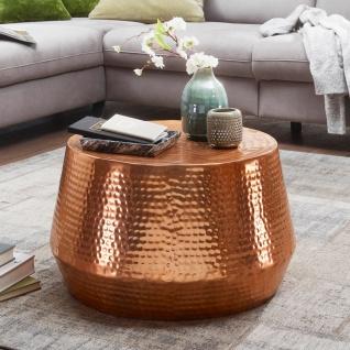 Design Couchtisch 60x36x60 cm, Aluminium, Beistelltisch, Orientalisch, Rund, ...