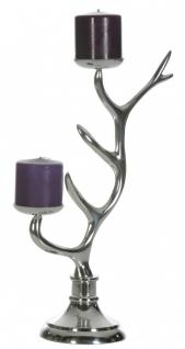 Kerzenständer aus Aluminium, hochglanzpoliert, B 30 x T 14 x H 47 cm