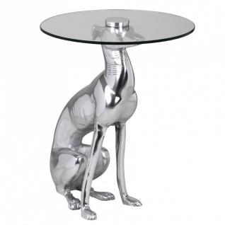 """Design Deko Beistelltisch, Figur """" Windhund"""" aus Aluminium, Silber, Anstelltis..."""
