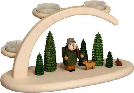 """Leuchterbogen / Kerzenhalter """" Wald"""", aus Holz, natur/grün, Breite 25 cm"""