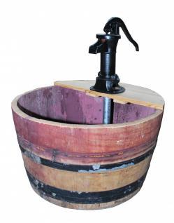 Wasserspiel als Fass, gebraucht mit fixierten Metallringen, 1/2 ca. 100l, mit...