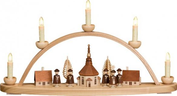 """Leuchterbogen / Kerzenhalter """" Seiffener Dorf"""", aus Holz, natur/braun, Breite ..."""
