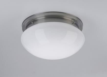 Deckenleuchte / Plafonnier, Messing Nickel matt, Glas weiß glänzend, Höhe 20 ...