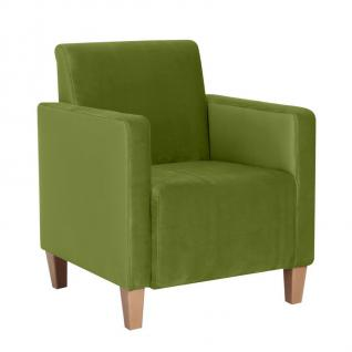 Sessel / Einzelsessel, samtiger Veloursstoff, stabiles Holzgrundgestell aus M...