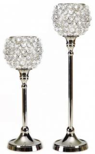 Kerzenständer, klein, aus Aluminium, vernickelt, mit Kristall-Verzierung, 2er... - Vorschau