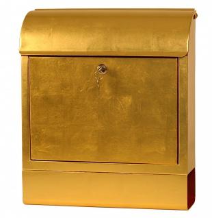 Exklusiver Design-Briefkasten mit Zeitungsrolle, Stahlblech mit 24 Karat Blat...