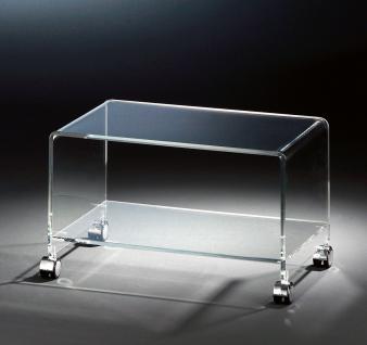 Hochwertiger Acryl-Glas TV-Wagen / TV-Tisch mit 4 Chromrollen, klar, 63 x 38 ...