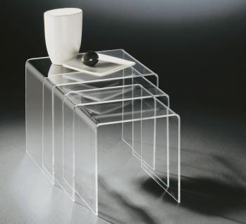Hochwertiger Acryl-Glas Dreisatztisch, klar, 40 x 33 cm, H 35 cm und 35 x 33 ...