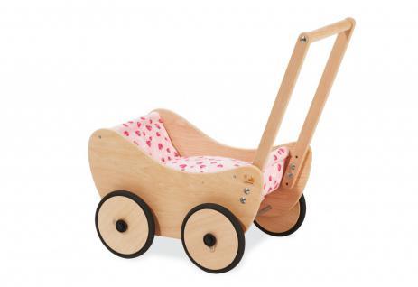 Pinolino Puppenwagen inkl. Bettzeug, rosa, aus Buche, massiv und unbehandelt,...