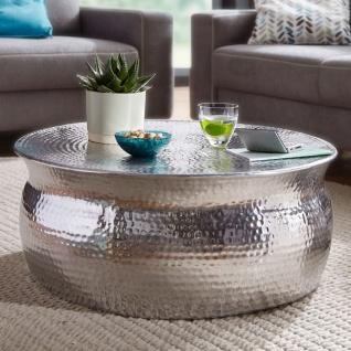 Design Couchtisch 75x31x75 cm, Aluminium Silber, Beistelltisch Orientalisch r...
