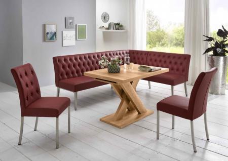 Moderne Eckbankgruppe, bordeauxrot, Honigeiche Dekor; Eckbank, 2 Stühle und E...