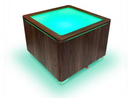 Moree Ora Leucht-Tisch mit Holzkorpus, LED beleuchtet, L 60 cm, W 60 cm, H 45...