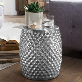 Design Beistelltisch 32x42x32 cm, Aluminium Anstelltisch Silber, Orientalisch...
