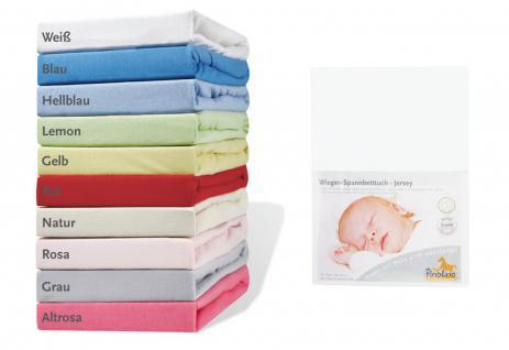 Pinolino Spannbettuch für Wiegen und Anstellbettchen, weiß, aus 100% Baumwoll...
