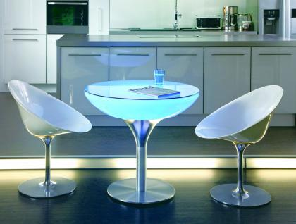 Moree Lounge Tisch, Pro, LED beleuchtet, Ø 84 cm, H 75 cm, ABS glänzend, weiß... - Vorschau 2