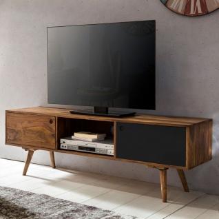 TV-Lowboard 140 cm Massiv-Holz Sheesham Landhaus 2 Türen & Fach, HiFi Regal 4...