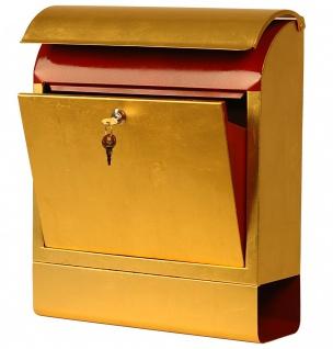 Exklusiver Design-Briefkasten mit Zeitungsrolle, Stahlblech mit 24 Karat Blat... - Vorschau 2