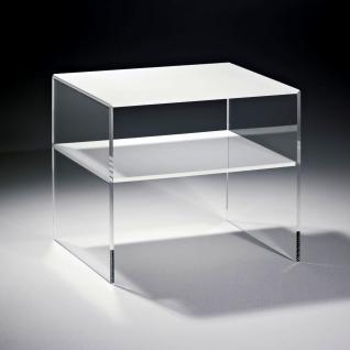 Hochwertiger Acryl-Glas Beistelltisch mit 1 Fach, Tischplatte und Unterboden ...