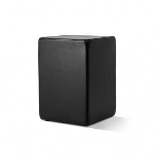 Pomp Lederhocker, echtes Leder, schwarz, B = 33 cm, T = 33 cm, H = 47, 5 cm, i...
