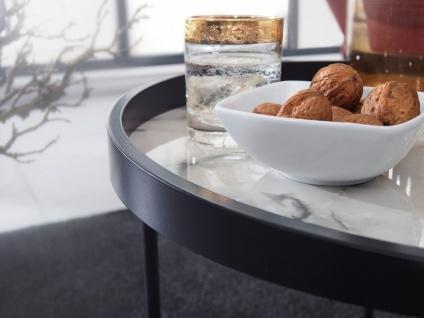 Design Beistelltisch Rund, Ø 46 cm, Marmor Optik Weiß, Anstelltisch, Metallbei... - Vorschau 4
