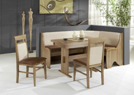 Truhen-Eckbankgruppe, Noce Dekor; Eckbank, 2 Stühle und Tisch mit Auszügen un...
