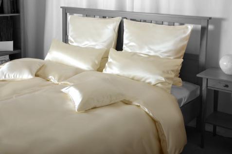 Seiden-Bettwäsche, cremefarben, elegeanter Luxus-Seiden-Bettbezug, hochwertig...