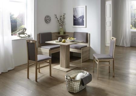 Eckbankgruppe Eiche/Buche Sonoma Dekor; Eckbank, 2 Stühle und Säulentisch, Be...