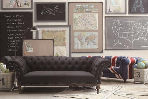 Sofa, 3-Sitzer, Bezug aus Stoff, anthrazit, B240 x T92 x H79 cm