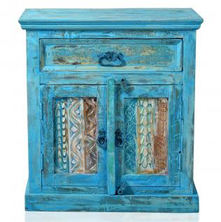 """Kommode / Schränkchen, """" Washed Look"""", Altholz, blau, B70 x T40 x H76 cm"""