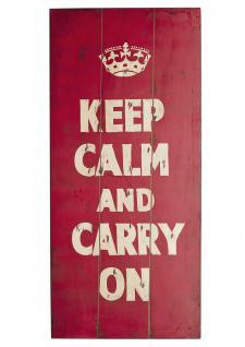 "Wand-/Dekoschild / Wall Art "" Keep Calm"", aus MDF, im Vintage-Look, B40 x H90 ..."