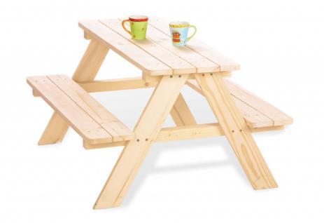 Pinolino Kindersitzgarnitur für 4 Kinder, 2 Bänke und 1 Tisch, aus Fichte nat...