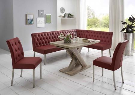 Moderne Eckbankgruppe, bordeauxrot, Wildeiche Dekor; Eckbank, 2 Stühle und Es...