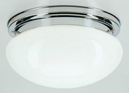 Deckenleuchte / Plafonnier, Messing verchromt, Glas weiß glänzend, Höhe 15 cm...