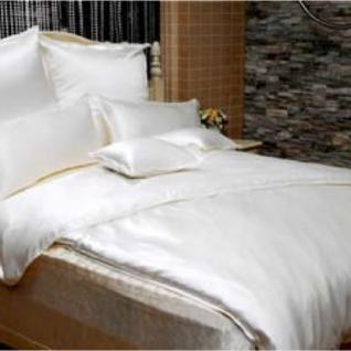 """Sichou Seiden-Bettwäsche """" Satin White Uni"""", eleganter Luxus-Seiden-Bettbezug ... - Vorschau 1"""