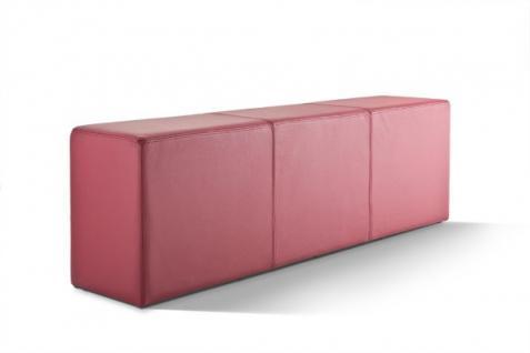 Pomp Bank, echtes Leder, bordeaux, B = 150 cm, T = 33 cm, H = 47, 5 cm, Sitzba...