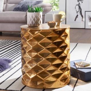 Design Beistelltisch 43, 5x48x43, 5 cm, Aluminium Couchtisch Gold, Orientalisch...