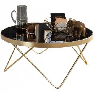 Couchtisch Ø 82 cm Schwarz/matt, Gold, Beistelltisch Metall/Glas, Tisch mit G...