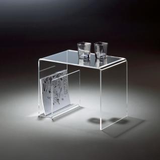 Hochwertiger Acryl-Glas Beistelltisch mit Zeitungsfach, klar, 48 x 32 cm, H 3...