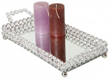 Schale / Tablett aus Aluminium, vernickelt, mit Kristall-Verzierung, L 39 x B... - Vorschau