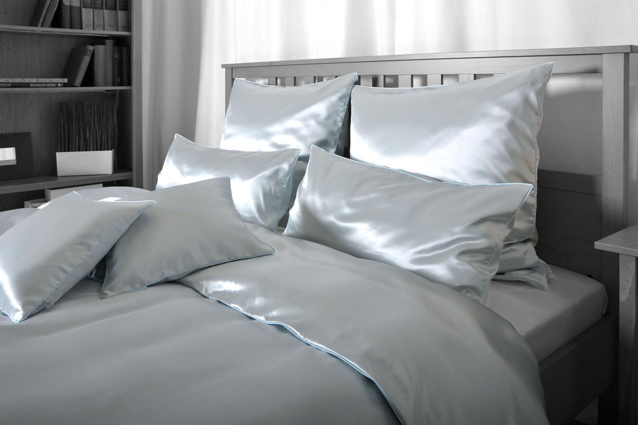 seiden bettw sche grau elegeanter luxus seiden bettbezug hochwertig gen ht kaufen bei. Black Bedroom Furniture Sets. Home Design Ideas