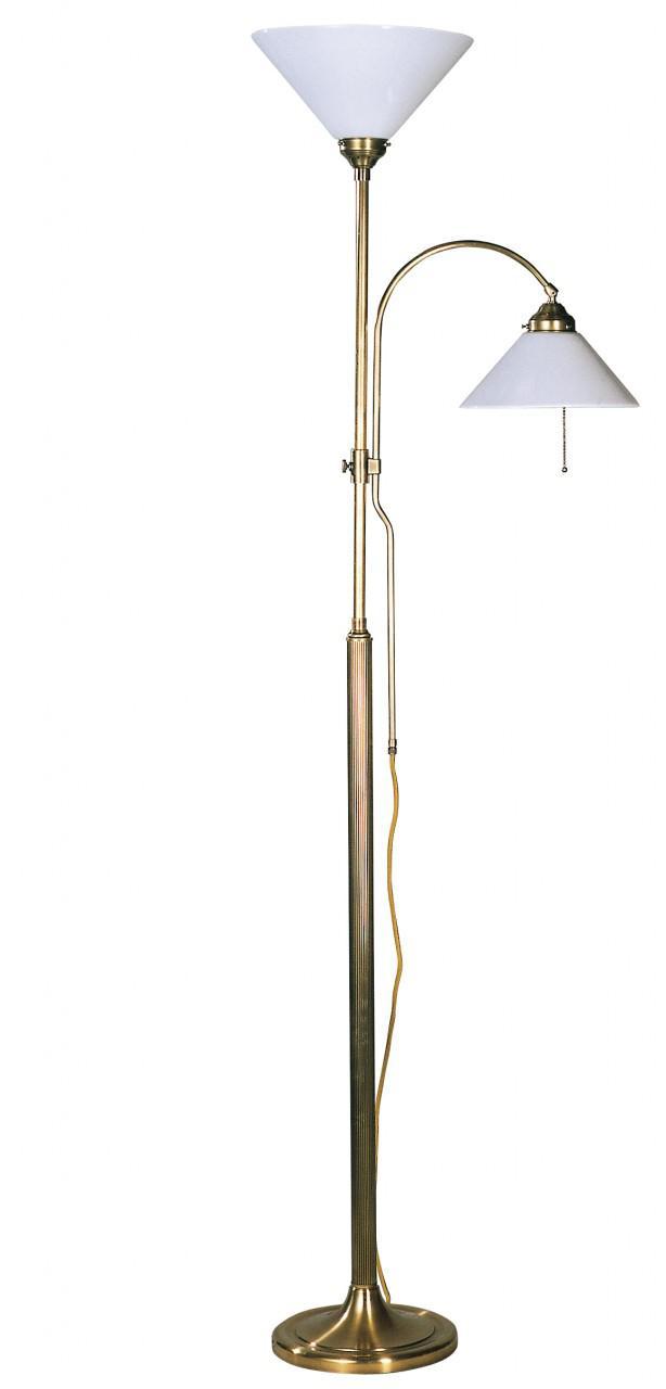Stehleuchte / Standleuchte Mit 2 Leuchten, Landhaus Stil, Messing Antik  Handp.