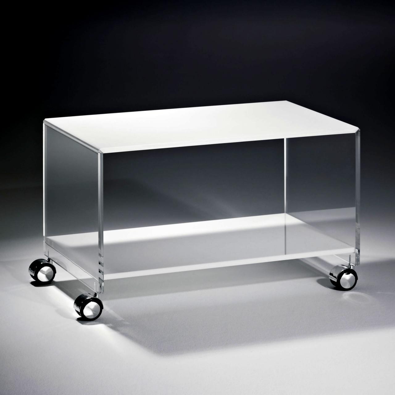Astounding Couchtisch Acryl Sammlung Von Hochwertiger Acryl-glas Mit 4 Chromrollen, Tischplatte Und