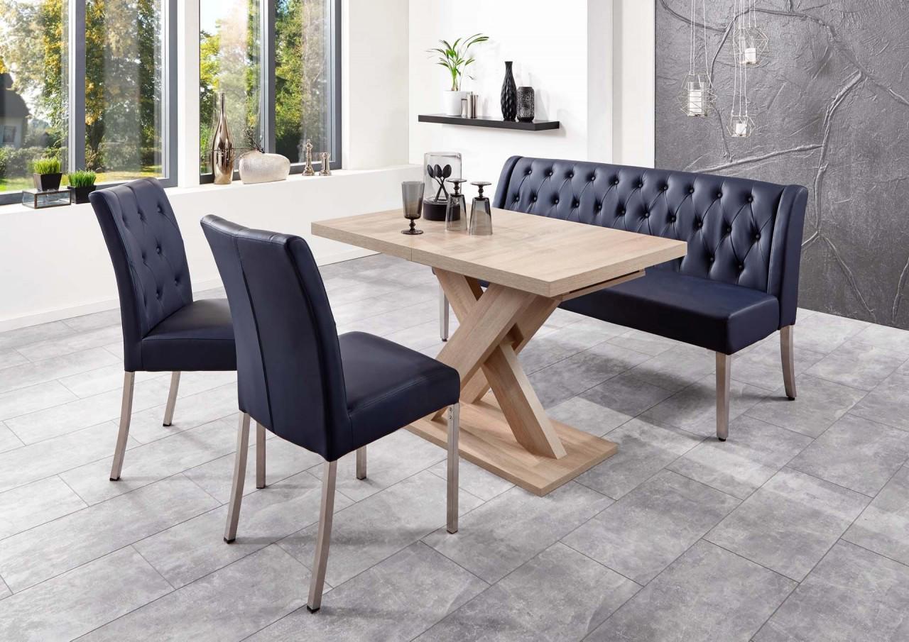 Moderne Bankgruppe / Essgruppe Toulouse, 1 Bank, 2 Stühle, 1 Wangentisch,  mit...