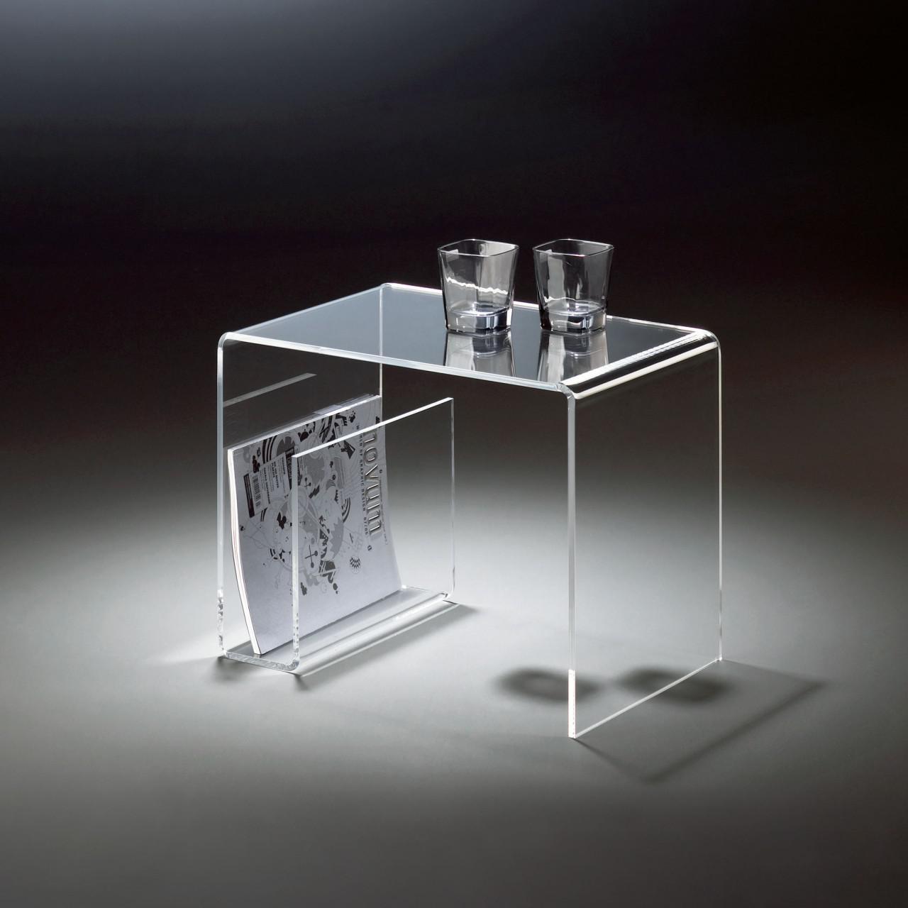 Bezaubernd Glasbeistelltisch Dekoration Von Hochwertiger Acryl-glas Beistelltisch Mit Zeitungsfach, Klar, 48