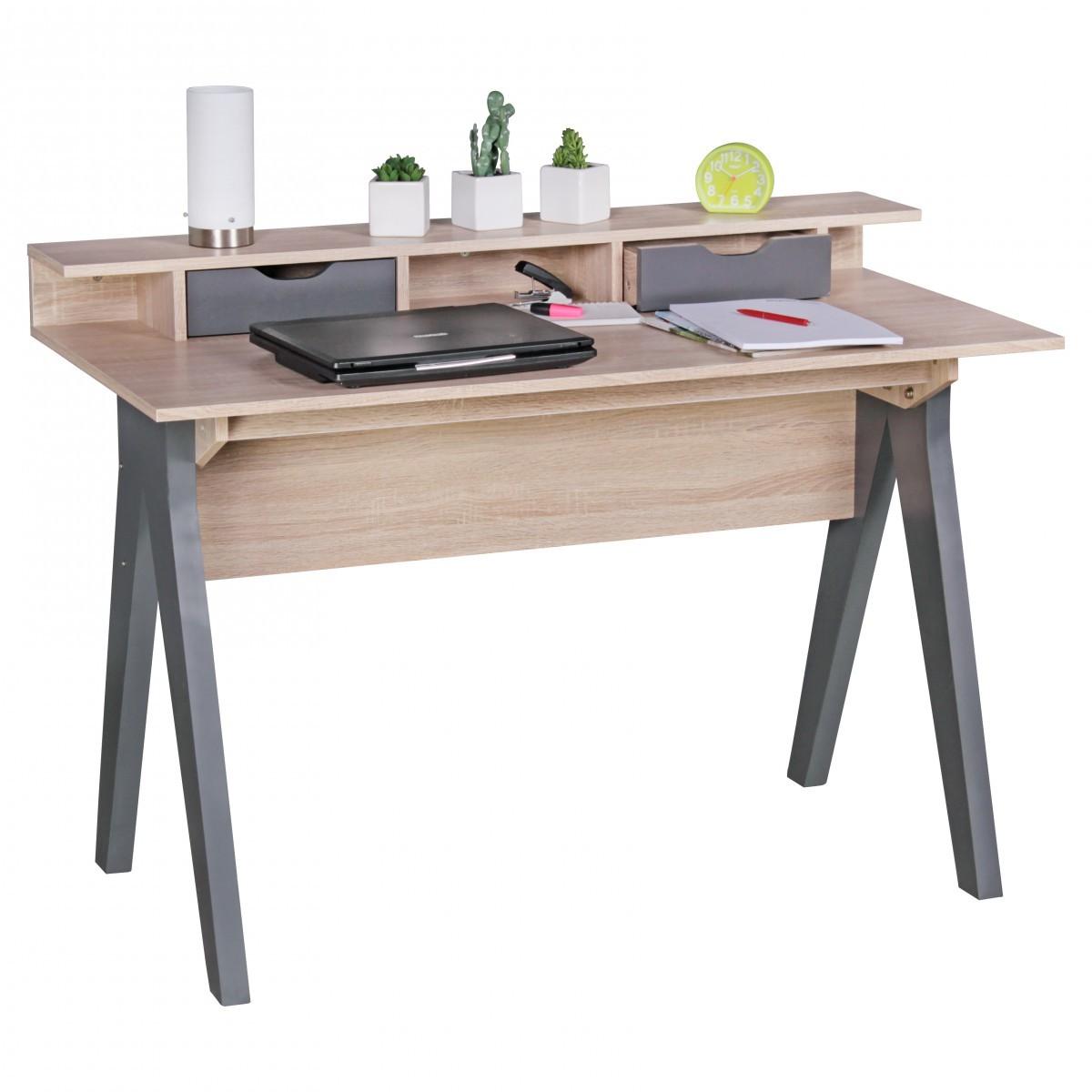 Stilvoller Schreibtisch Bürotisch Sonoma Eiche Mit Ausziehbaren