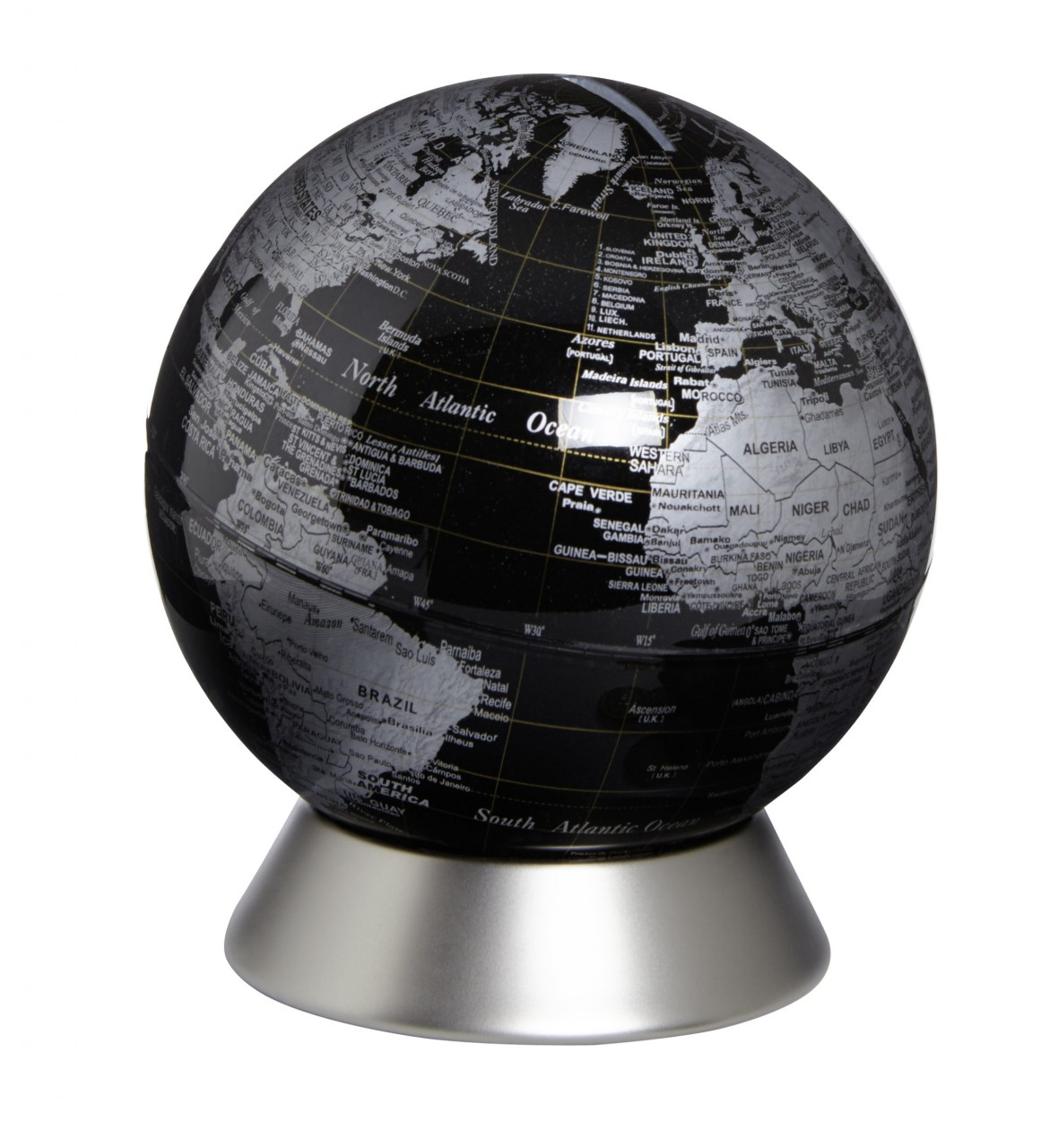 Globus Weltkugel Karte.Moderner Globus Weltkugel Spardose Aus Metall Silber Und Kunststoff ø 1